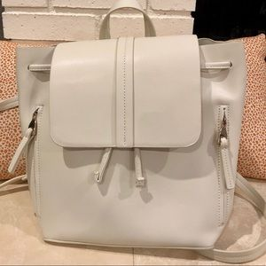NWOT Zara white faux leather backpack